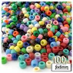 Plastic Beads, Pony Opaque, 6x9mm, 100-pc, Multi Mix