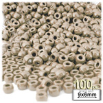 Plastic Beads, Pony Opaque, 6x9mm, 100-pc, Tan