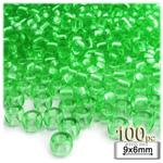 Plastic Beads, Pony Transparent, 6x9mm, 100-pc, Light Green