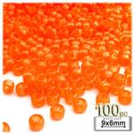 Plastic Beads, Pony Transparent, 6x9mm, 100-pc, Orange