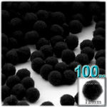 Acrylic Pom Poms, solid Color, 0.5-inch (12mm), 100-pc, Black