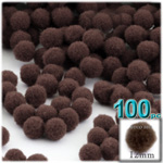Pom Poms, solid Color, 0.5-inch (12mm), 100-pc, Coffee Brown