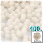 Acrylic Pom Poms, solid Color, 0.5-inch (12mm), 100-pc, Cream