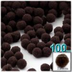 Pom Poms, solid Color, 0.5-inch (12mm), 100-pc, Dark Brown