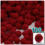 Acrylic Pom Poms, solid Color, 0.5-inch (12mm), 100-pc, Dark Red