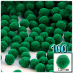 Pom Poms, solid Color, 0.5-inch (12mm), 100-pc, Emerald Green
