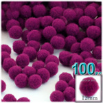 Acrylic Pom Poms, solid Color, 0.5-inch (12mm), 100-pc, Fuchsia