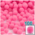 Acrylic Pom Poms, solid Color, 0.5-inch (12mm), 100-pc, Hot Pink