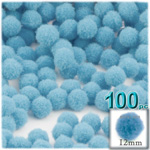 Pom Poms, solid Color, 0.5-inch (12mm), 100-pc, Light Blue