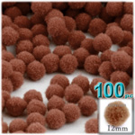 Pom Poms, solid Color, 0.5-inch (12mm), 100-pc, Light Brown