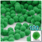 Pom Poms, solid Color, 0.5-inch (12mm), 100-pc, Light Green