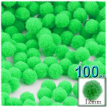 Pom Poms, solid Color, 0.5-inch (12mm), 100-pc, Lime Green