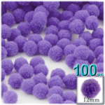 Pom Poms, solid Color, 0.5-inch (12mm), 100-pc, Light Purple