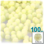 Pom Poms, solid Color, 0.5-inch (12mm), 100-pc, Light Yellow