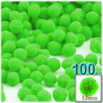 Pom Poms, solid Color, 0.5-inch (12mm), 100-pc, Neon Green