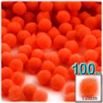 Pom Poms, solid Color, 0.5-inch (12mm), 100-pc, Neon Orange