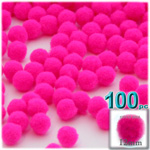 Acrylic Pom Poms, solid Color, 0.5-inch (12mm), 100-pc, Neon Pink