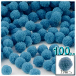 Pom Poms, solid Color, 0.5-inch (12mm), 100-pc, Ocean Blue