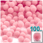 Acrylic Pom Poms, solid Color, 0.5-inch (12mm), 100-pc, Pink