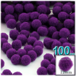 Acrylic Pom Poms, solid Color, 0.5-inch (12mm), 100-pc, Purple