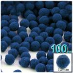 Pom Poms, solid Color, 0.5-inch (12mm), 100-pc, Royal Blue