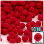 Acrylic Pom Poms, solid Color, 0.5-inch (12mm), 100-pc, Red