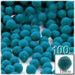 Pom Poms, solid Color, 0.5-inch (12mm), 100-pc, Turquoise Blue