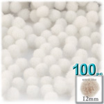 Acrylic Pom Poms, solid Color, 0.5-inch (12mm), 100-pc, White