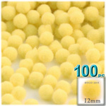Acrylic Pom Poms, solid Color, 0.5-inch (12mm), 100-pc, Yellow