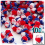 Pom Poms, Tri-Color, 0.5-inch (12mm), 100-pc, Red White and Blue