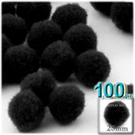 Acrylic Pom Poms, solid Color, 1.0-inch (25mm), 100-pc, Black