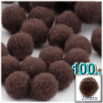Pom Poms, solid Color, 1.0-inch (25mm), 100-pc, Coffee Brown