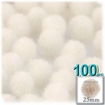 Acrylic Pom Poms, solid Color, 1.0-inch (25mm), 100-pc, Cream