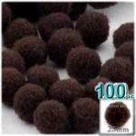Pom Poms, solid Color, 1.0-inch (25mm), 100-pc, Dark Brown