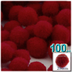 Acrylic Pom Poms, solid Color, 1.0-inch (25mm), 100-pc, Dark Red