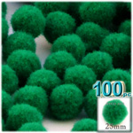 Pom Poms, solid Color, 1.0-inch (25mm), 100-pc, Emerald Green