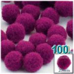 Acrylic Pom Poms, solid Color, 1.0-inch (25mm), 100-pc, Fuchsia
