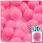 Acrylic Pom Poms, solid Color, 1.0-inch (25mm), 100-pc, Hot Pink