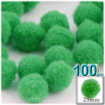 Pom Poms, solid Color, 1.0-inch (25mm), 100-pc, Light Green