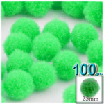 Pom Poms, solid Color, 1.0-inch (25mm), 100-pc, Lime Green