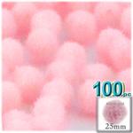 Pom Poms, solid Color, 1.0-inch (25mm), 100-pc, Light Pink