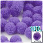 Pom Poms, solid Color, 1.0-inch (25mm), 100-pc, Light Purple