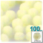 Pom Poms, solid Color, 1.0-inch (25mm), 100-pc, Light Yellow