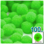 Pom Poms, solid Color, 1.0-inch (25mm), 100-pc, Neon Green