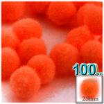 Pom Poms, solid Color, 1.0-inch (25mm), 100-pc, Neon Orange