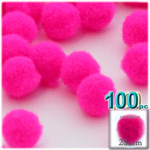 Acrylic Pom Poms, solid Color, 1.0-inch (25mm), 100-pc, Neon Pink