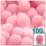 Acrylic Pom Poms, solid Color, 1.0-inch (25mm), 100-pc, Pink