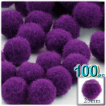 Acrylic Pom Poms, solid Color, 1.0-inch (25mm), 100-pc, Purple