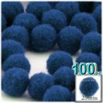 Pom Poms, solid Color, 1.0-inch (25mm), 100-pc, Royal Blue