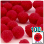 Acrylic Pom Poms, solid Color, 1.0-inch (25mm), 100-pc, Red